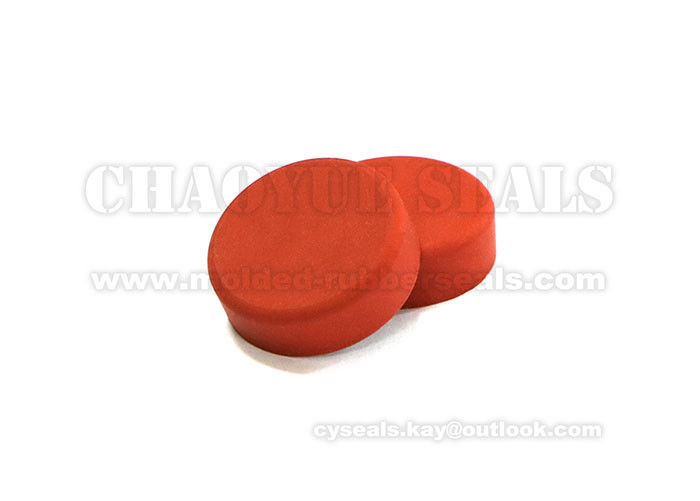 Orange Round Rubber End Caps Frosted Surface 300 Centigrade Degrees Resistant